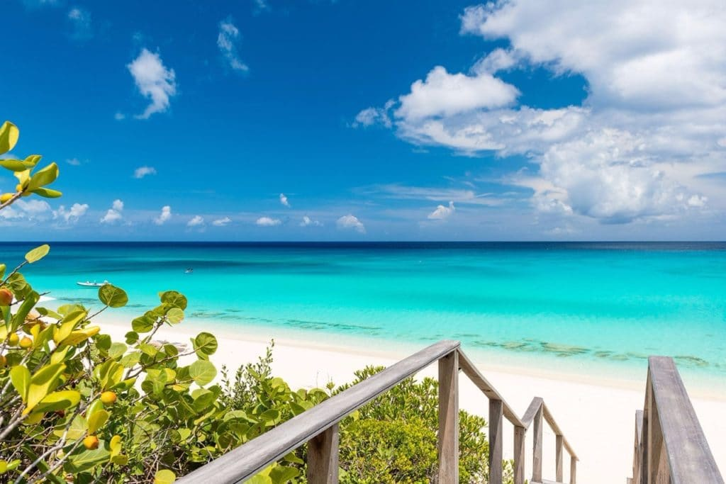 Plage de l'hôtel Amanyara 5 étoiles luxe à Turks and Caicos