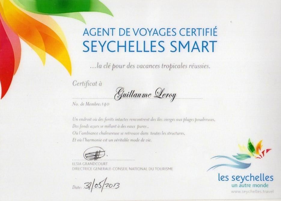 certificat smart sejour luxe seycehelles